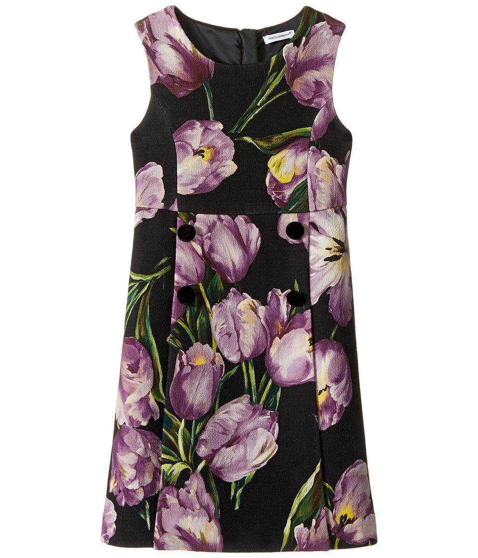Dolce & Gabbana Kids - City Tulip Print Dress (Toddler/Little Kids) (Black Print) Girl's Dress