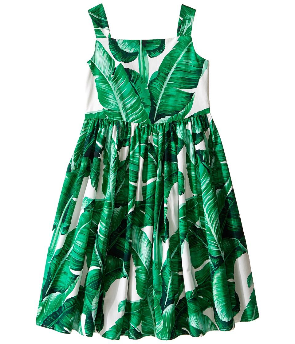 Dolce & Gabbana Kids - Botanical Garden Banana Leaf Sleeveless Dress (Toddler/Little Kids) (White Print) Girl's Dress