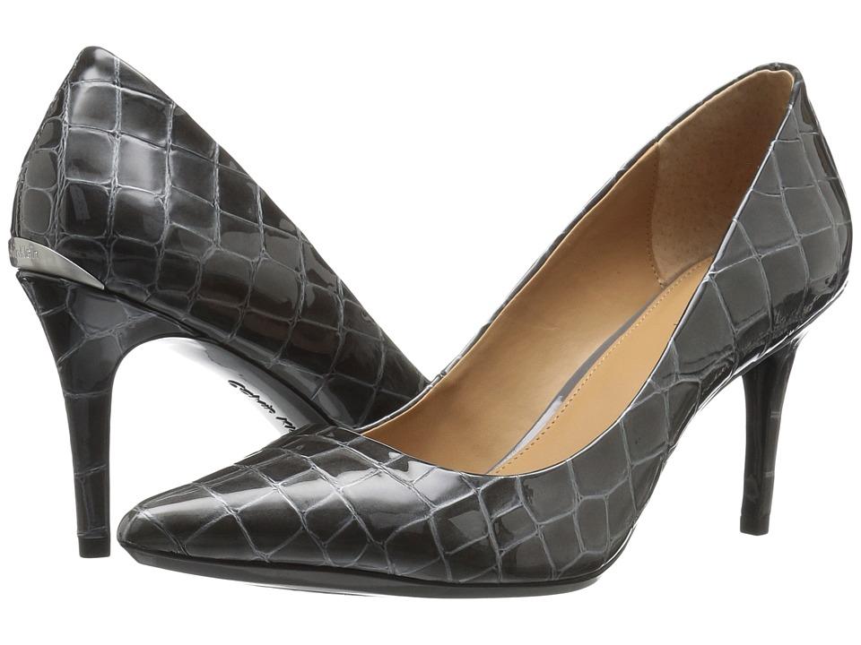 Calvin Klein Gayle (Shadow Grey Croco Print Patent) High Heels