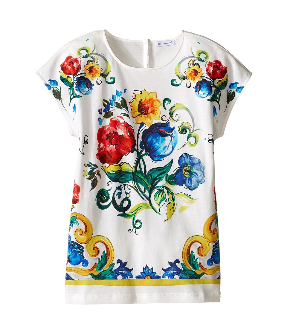 Dolce & Gabbana Kids - Escape Maiolica Bouquet T-Shirt (Big Kids) (White Print) Girl's T Shirt