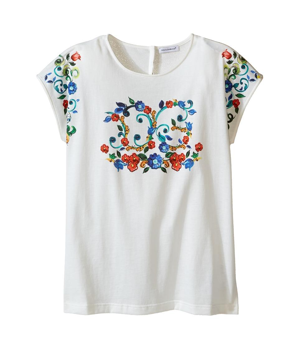 Dolce & Gabbana Kids - Escape Logo T-Shirt (Big Kids) (White Print) Girl's T Shirt