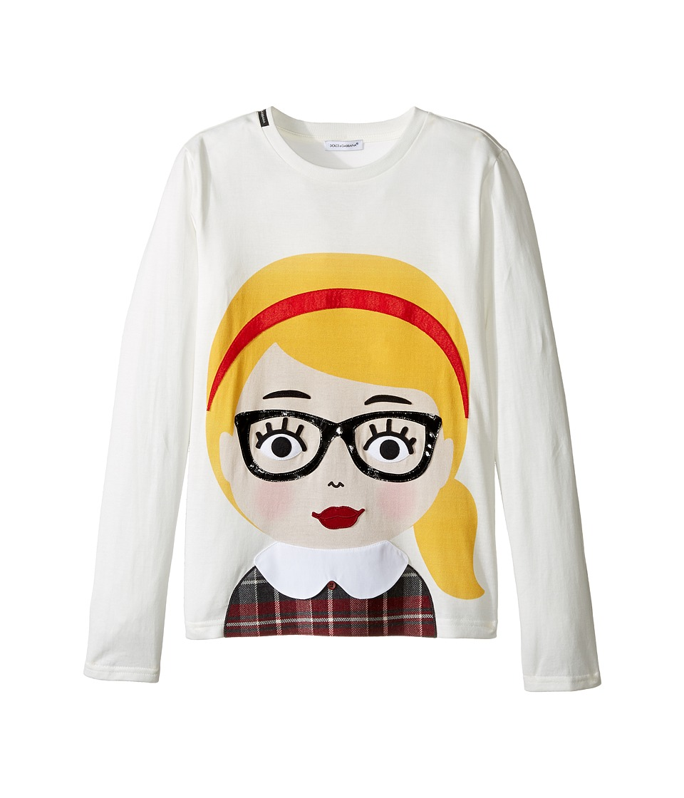 Dolce & Gabbana Kids - Back to School Bimba Bionda Long Sleeve T-Shirt (Big Kids) (White Print) Girl's T Shirt