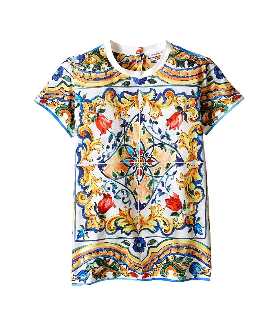 Dolce & Gabbana Kids - Escape Maiolica T-Shirt (Big Kids) (White Print) Girl's T Shirt