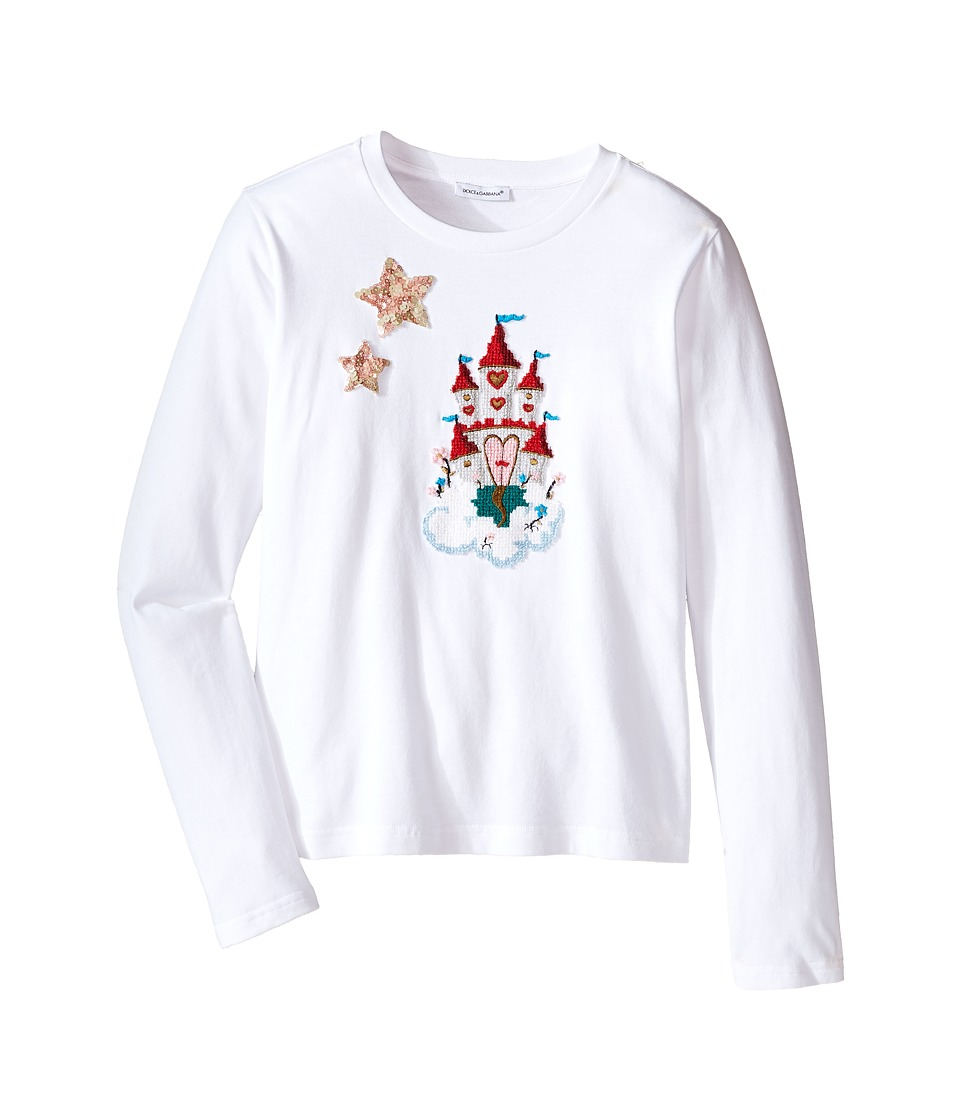 Dolce & Gabbana Kids - City Long Sleeve T-Shirt (Big Kids) (White Print) Girl's T Shirt