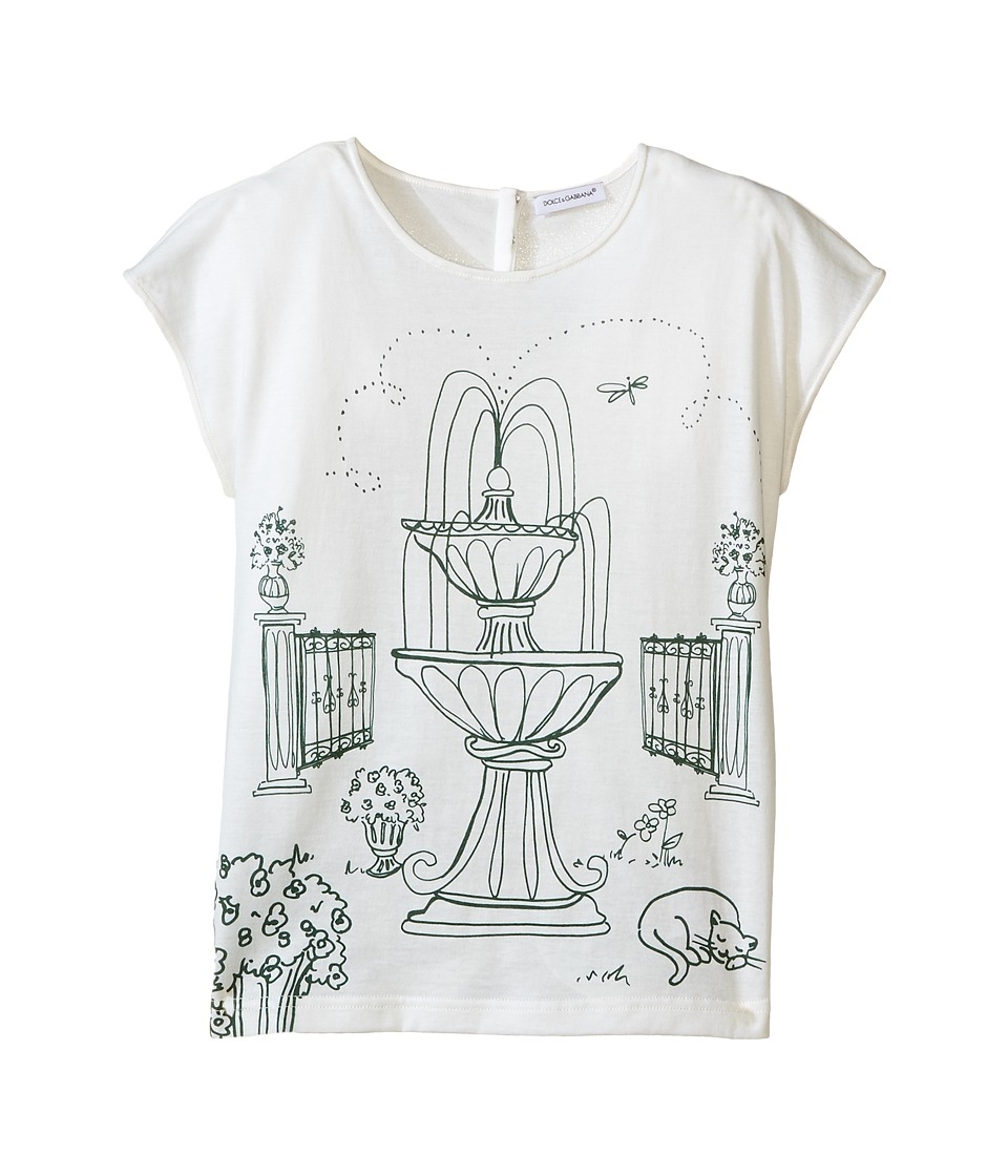 Dolce & Gabbana Kids - Botanical Garden Fountain T-Shirt (Big Kids) (White Print) Girl's T Shirt