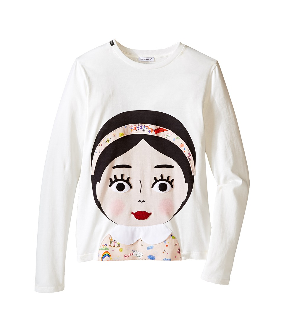 Dolce & Gabbana Kids - Back to School Bimba Mora T-Shirt (Big Kids) (White Print) Girl's T Shirt