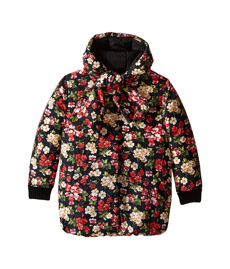 Dolce & Gabbana Kids - Back to School Floral Nylon Coat (Big Kids) (Black Print) Girl's Coat