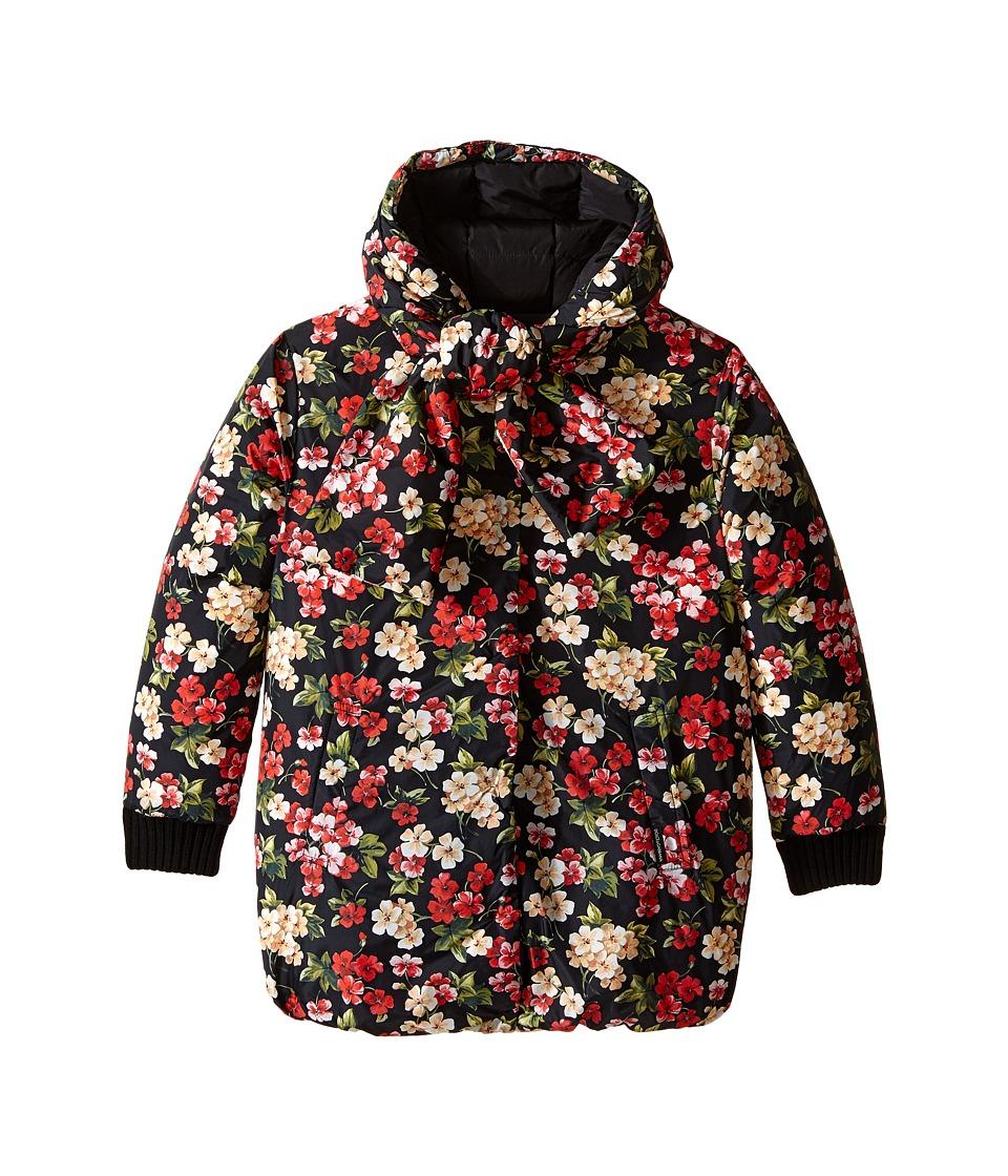 Dolce & Gabbana Kids - Back to School Floral Nylon Coat (Big Kids) (Black Print) Girl's Coat