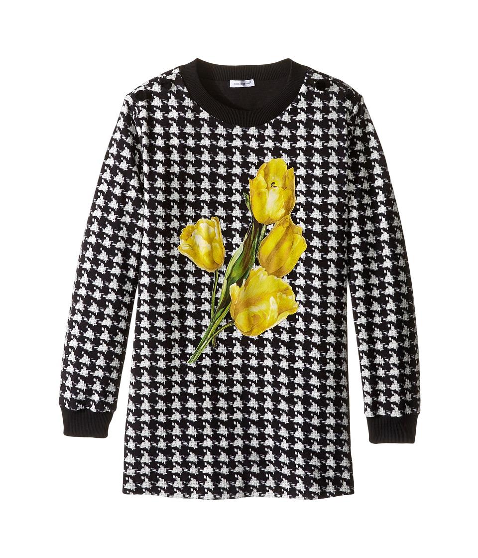 Dolce & Gabbana Kids - City Houndstooth Sweater (Big Kids) (Black/White Print) Girl's Sweater