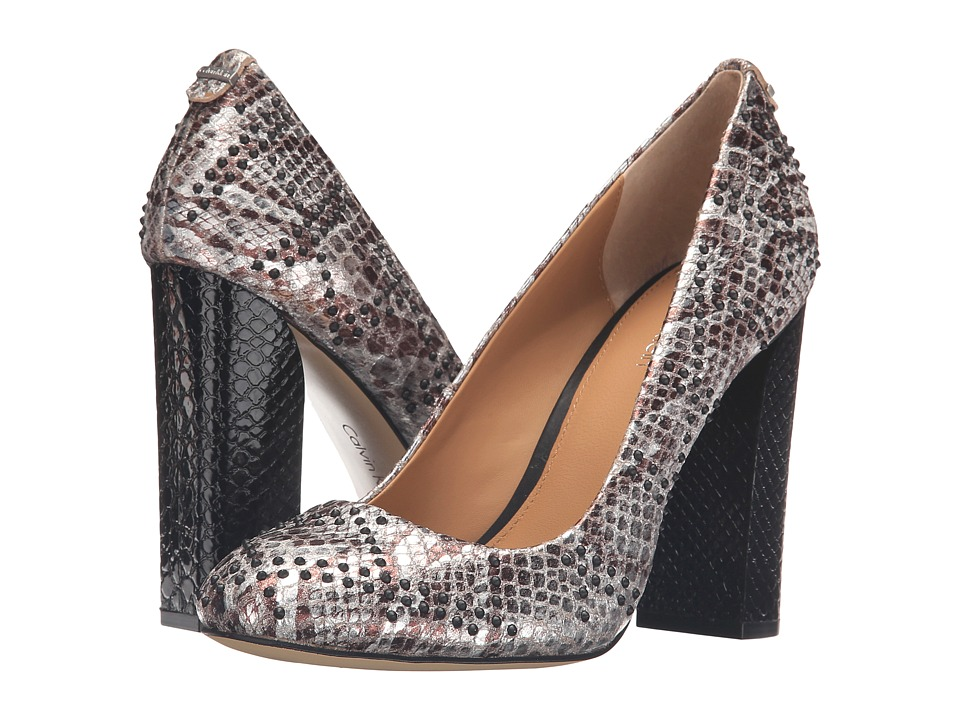 Calvin Klein - Junie (Silver Foiled Snake Print Leather) Women's Shoes