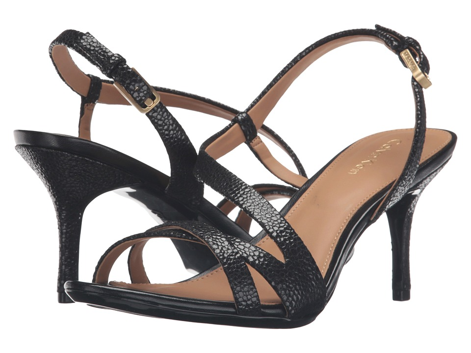 Calvin Klein - Lorren (Black Pearlized Stingray Print Leather) Women's Dress Sandals