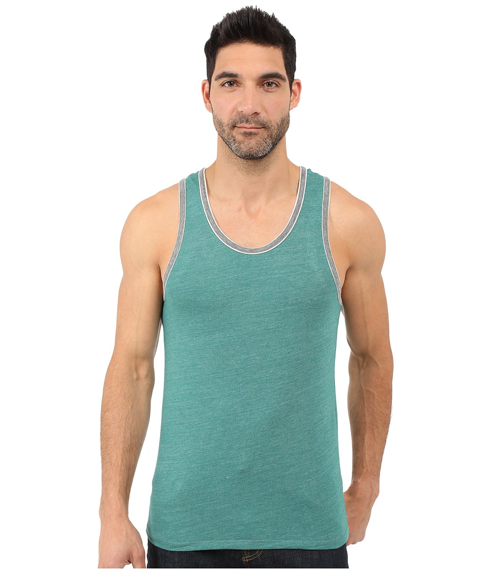 Alternative - Double Ringer Tank (Eco True Aqua Teal/Eco Grey) Men's Sleeveless