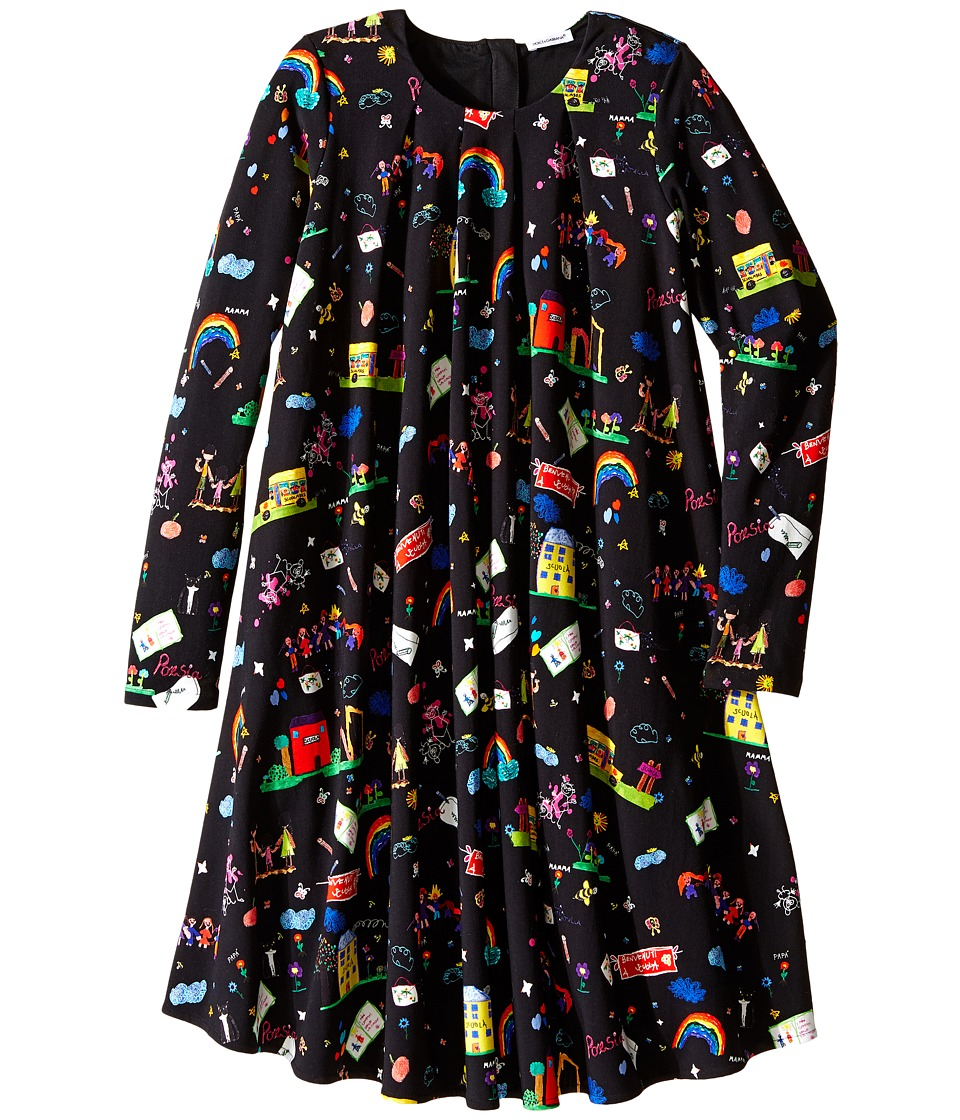 Dolce & Gabbana Kids - Back to School Printed Long Sleeve Dress (Big Kids) (Black Print) Girl's Dress