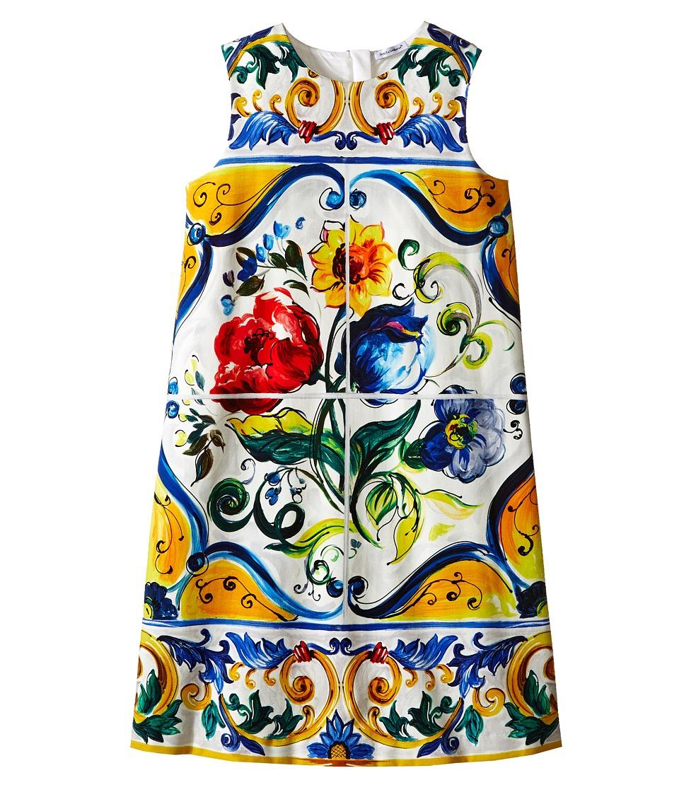 Dolce & Gabbana Kids - Escape Maiolica Flower Dress (Big Kids) (White Print) Girl's Dress