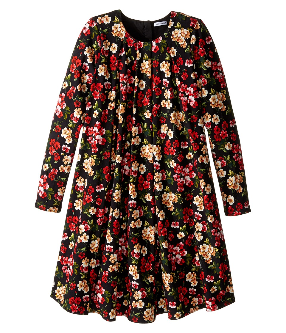 Dolce & Gabbana Kids - Back to School Floral Long Sleeve Dress (Big Kids) (Black Print) Girl's Dress