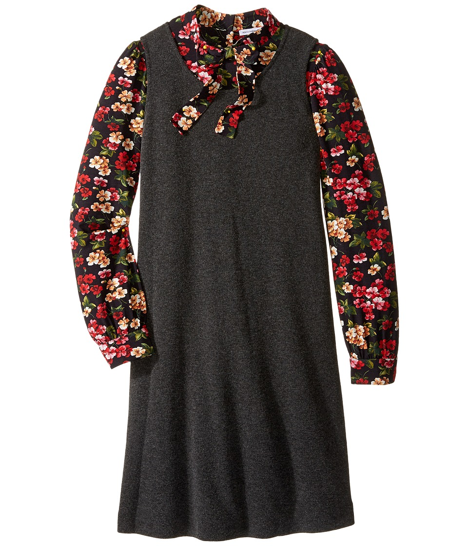 Dolce & Gabbana Kids - Back to School Long Sleeve A-Line Dress (Big Kids) (Charcoal Print) Girl's Dress