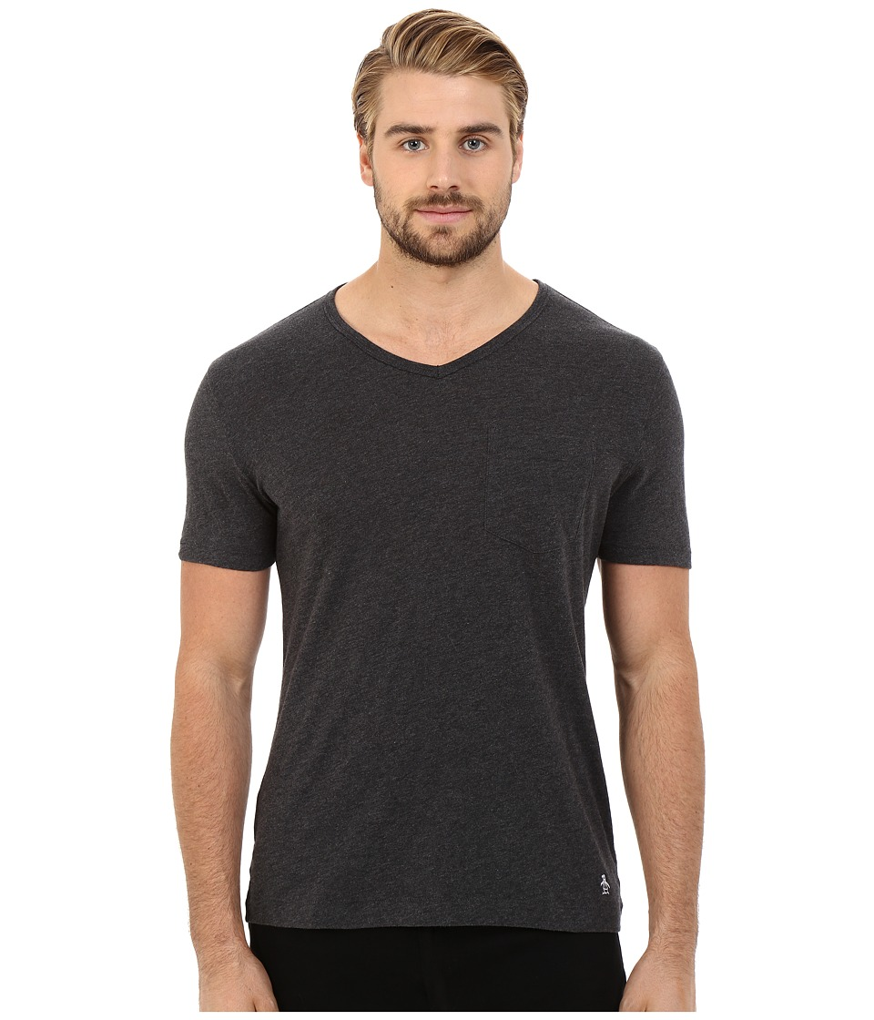 Original Penguin - Bing V-Neck (Dark Charcoal) Men's T Shirt