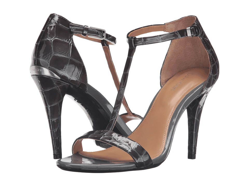 Calvin Klein - Nasi (Shadow Grey Croco Print Patent) High Heels