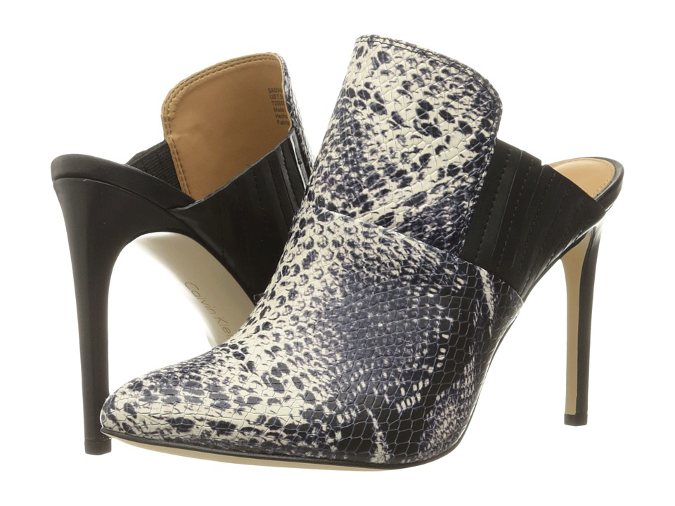 Calvin Klein Sadiana (Black/White/Black Leather/Snake Print Leather) Women