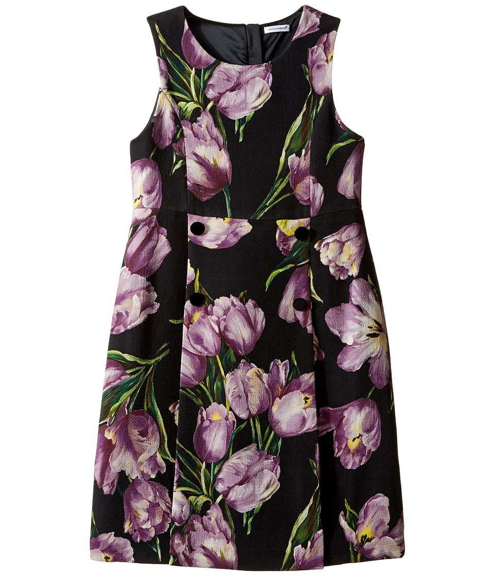 Dolce & Gabbana Kids - City Tulip Print Dress (Big Kids) (Black Print) Girl's Dress