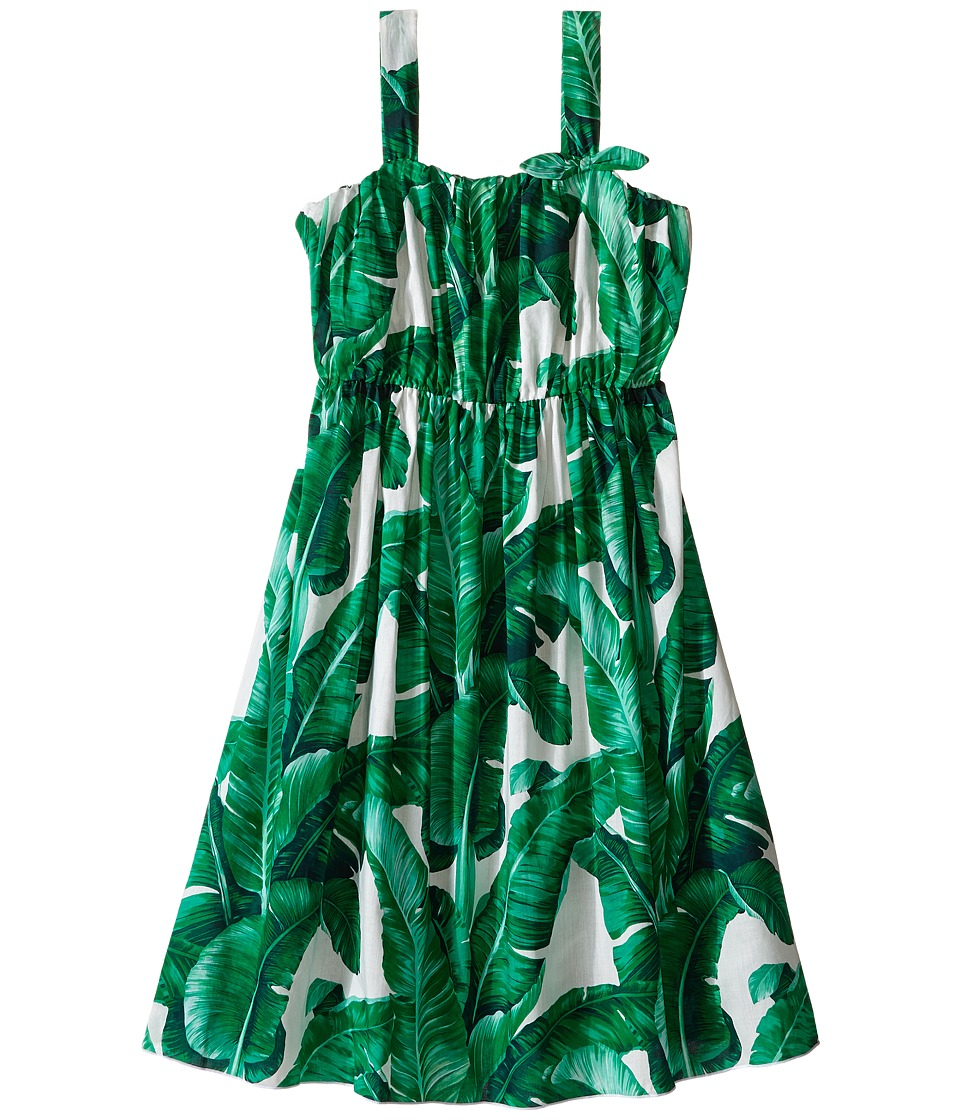 Dolce & Gabbana Kids - Botanical Garden Banana Print Flared Dress (Big Kids) (White Print) Girl's Dress