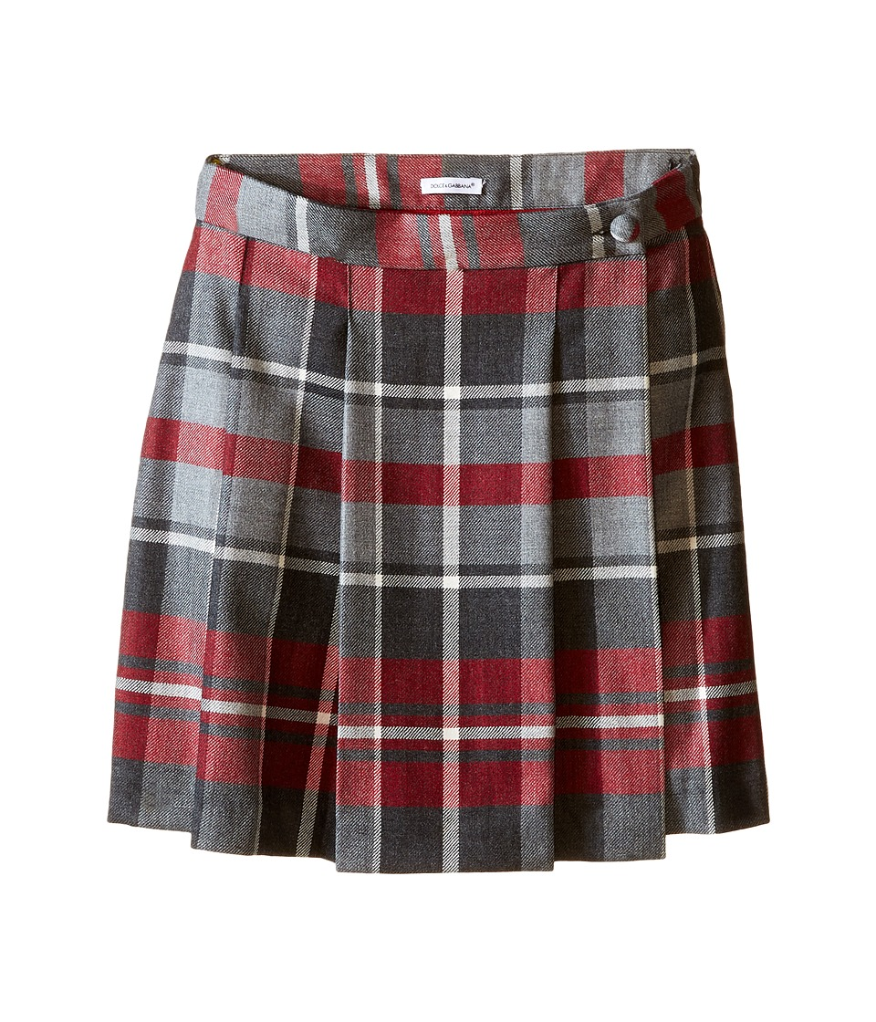 Dolce & Gabbana Kids - Back to School Quadricheck Tartan Skirt (Big Kids) (Red Print) Girl's Skirt