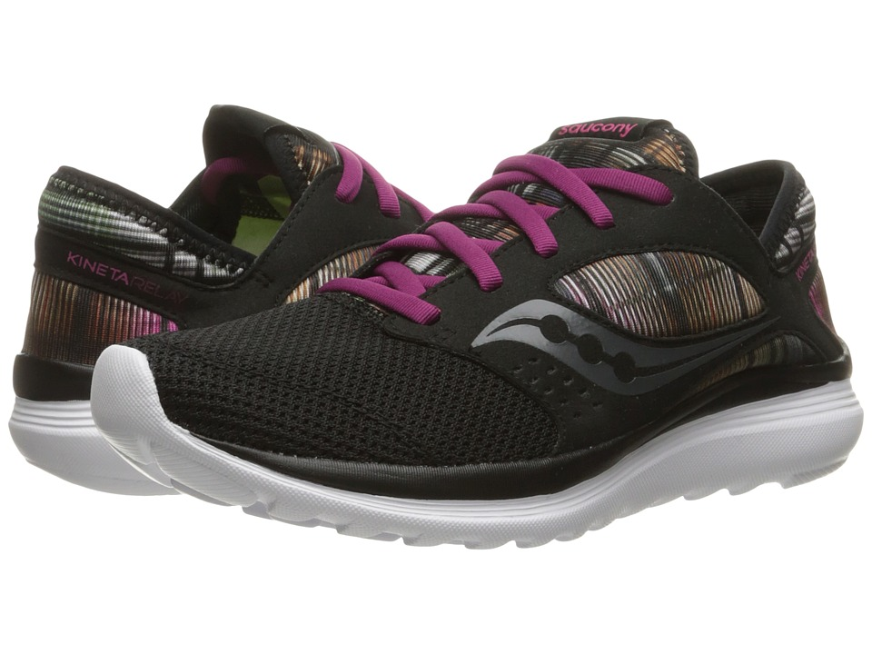Saucony - Life on the Run Kineta Relay (Black/Cerise) Women's Shoes