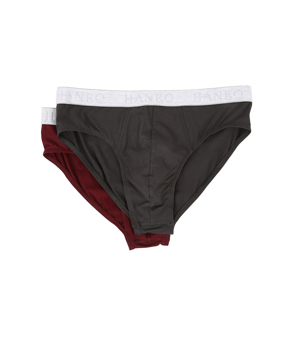 Hanro - Cotton Essentials 2-Pack Brief (Beluga/Burgundy) Men's Underwear