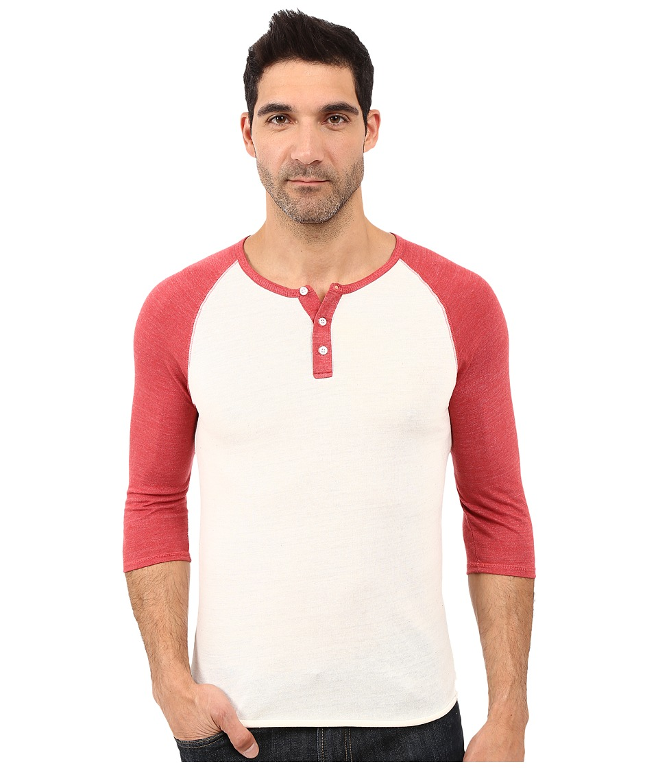 Alternative - 3/4 Raglan Henley (Eco Ivory/Eco True Fig) Men's Long Sleeve Pullover