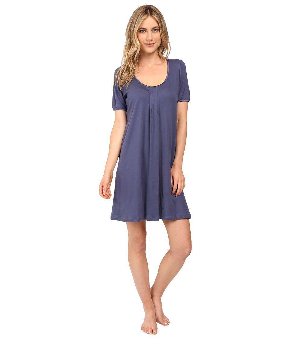 Hanro - Alessia Short Sleeve Gown (Cosy Blue) Women's Pajama