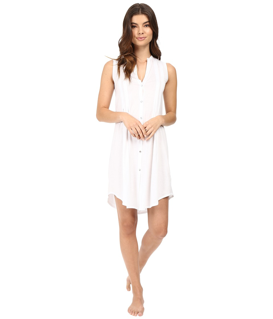 Hanro - Cotton Deluxe Button Front Tank Nightgown (White) Women's Pajama