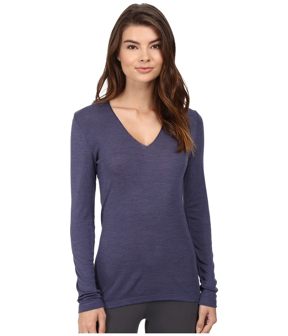 Hanro - Woolen Silk Long-Sleeve Shirt 1418 (Cozy Blue) Women's Long Sleeve Pullover