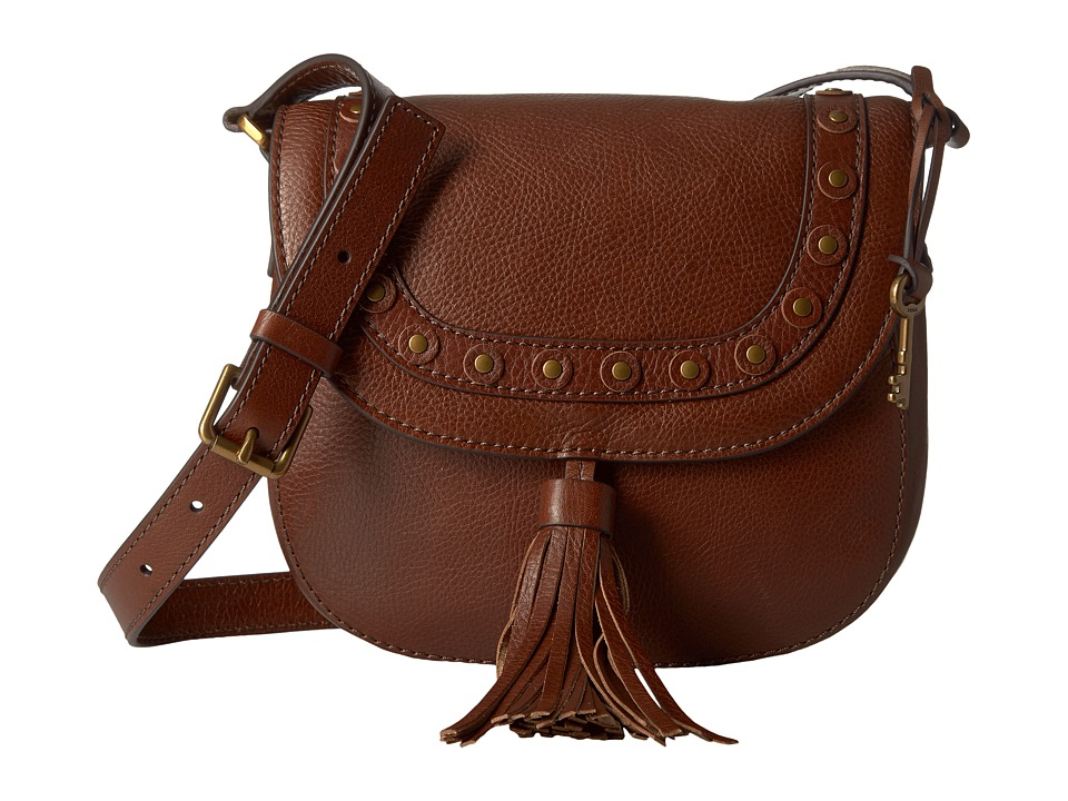 Fossil - Emi Stud Saddle Bag (Medium Brown) Bags