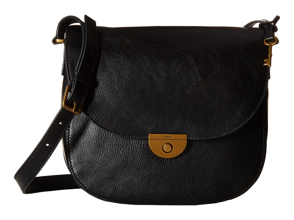 Fossil - Emi Large Saddle Bag (Black) Bags