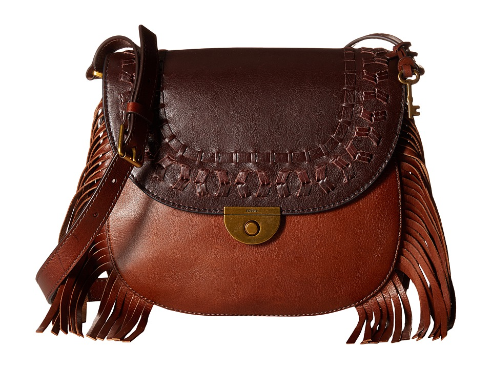 Fossil - Emi Fringe Large Saddle Bag (Multi Brown) Bags