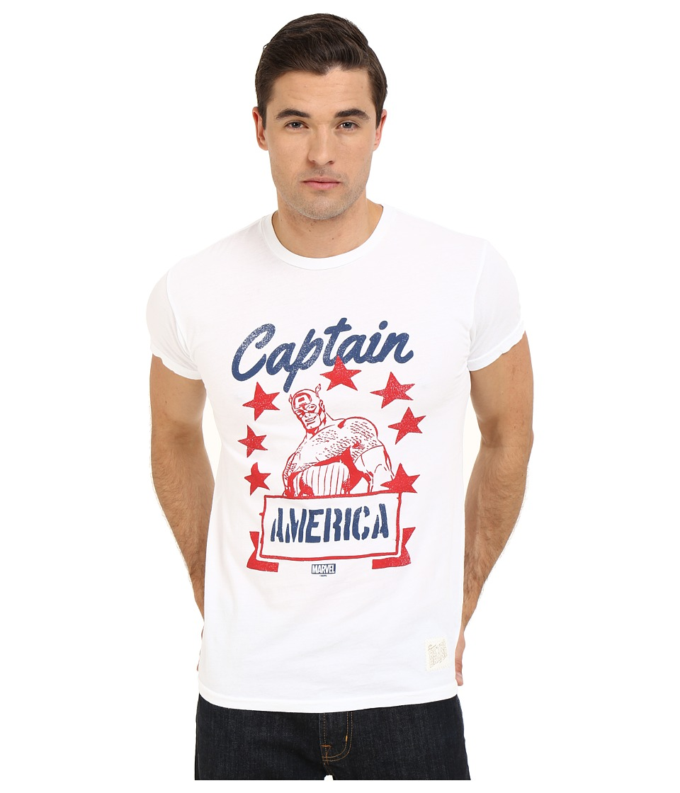 The Original Retro Brand - Captain America Vintage Cotton Short Sleeve Tee (White) Men's T Shirt