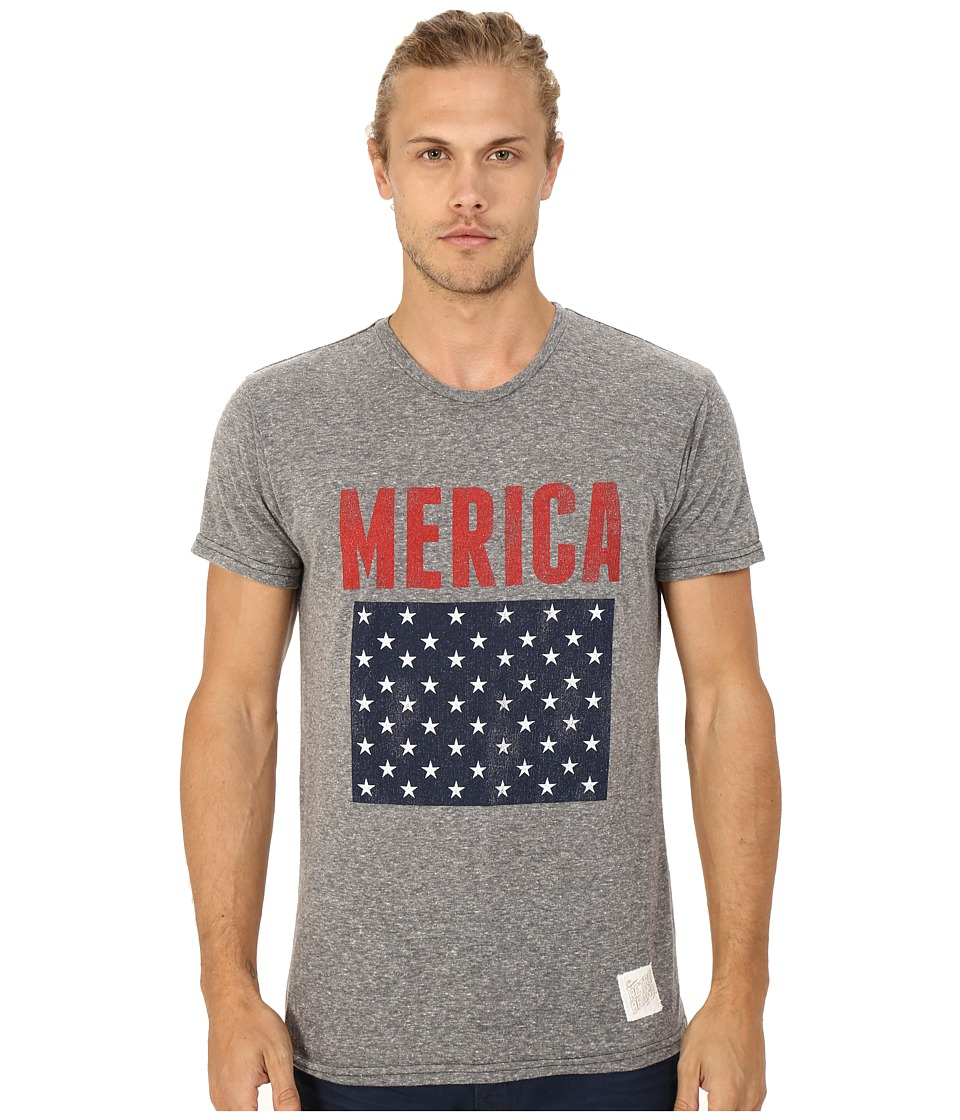 The Original Retro Brand - Merica Tri-Blend Short Sleeve Tee (Streaky Grey) Men's T Shirt