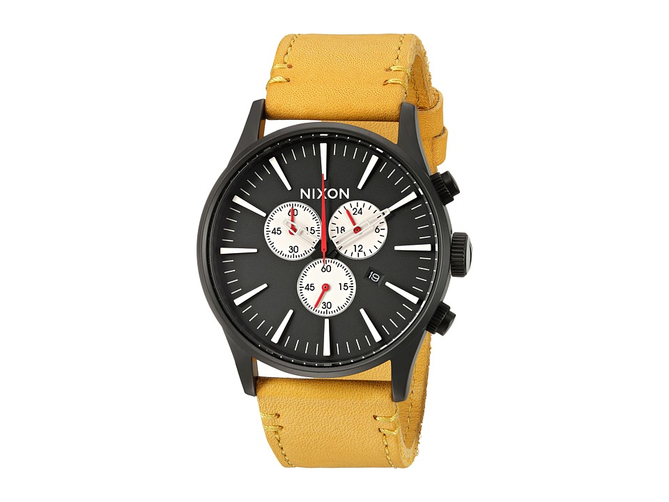 Nixon - Sentry Chrono Leather X Mountain Dweller Collection (All Black/Goldenrod) Watches