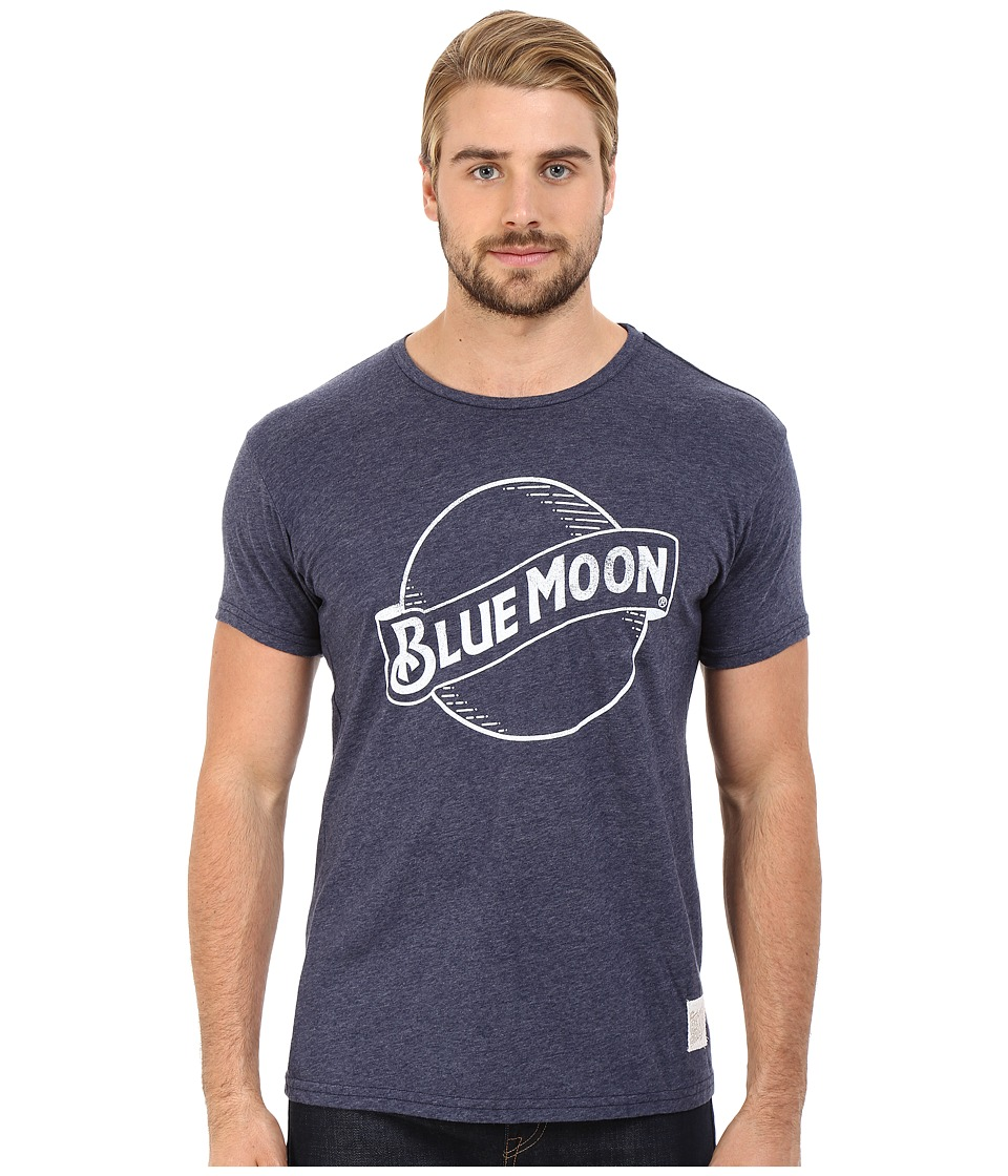 The Original Retro Brand - Blue Moon Short Sleeve Tri-Blend Tee (Streaky Navy) Men's T Shirt