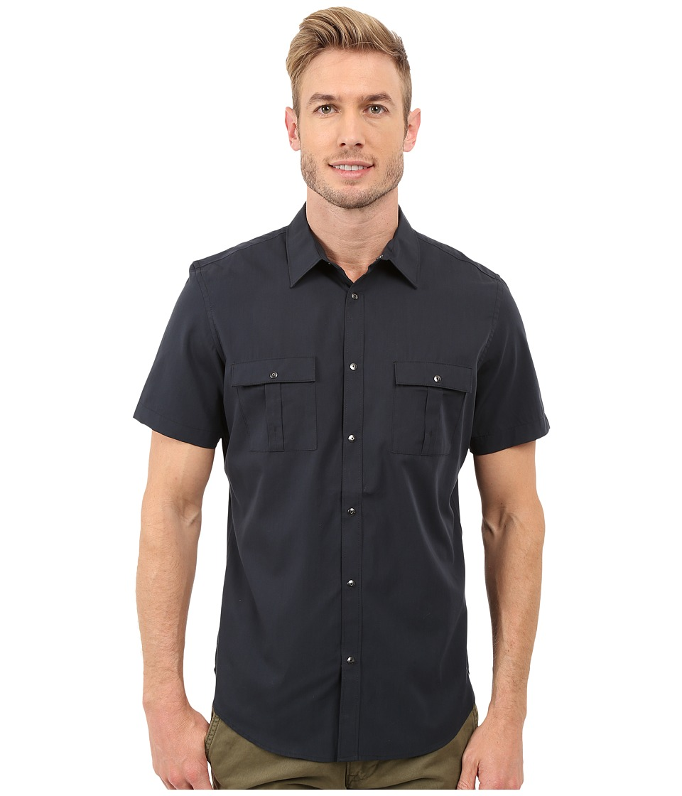 Calvin Klein - Classic Fit Lyocell-Blend Short Sleeve Shirt (Black) Men's Short Sleeve Button Up