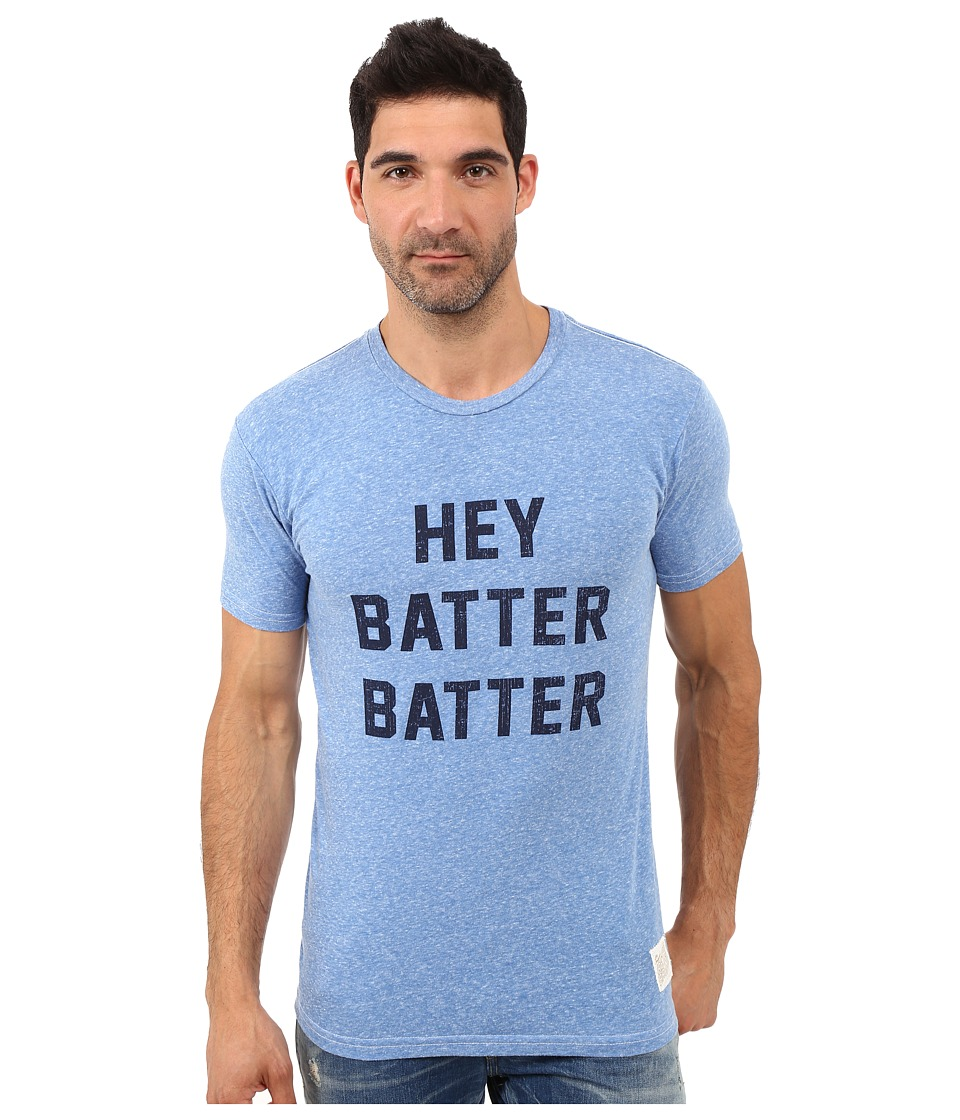 The Original Retro Brand - Hey Batter Batter Short Sleeve Tri-Blend Tee (Streaky Blue) Men's T Shirt