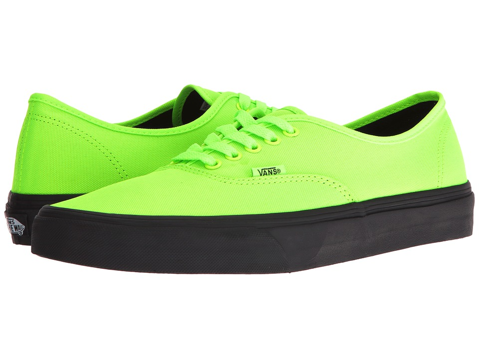 Vans - Authentic ((Black Outsole) Neon Green/Black) Skate Shoes