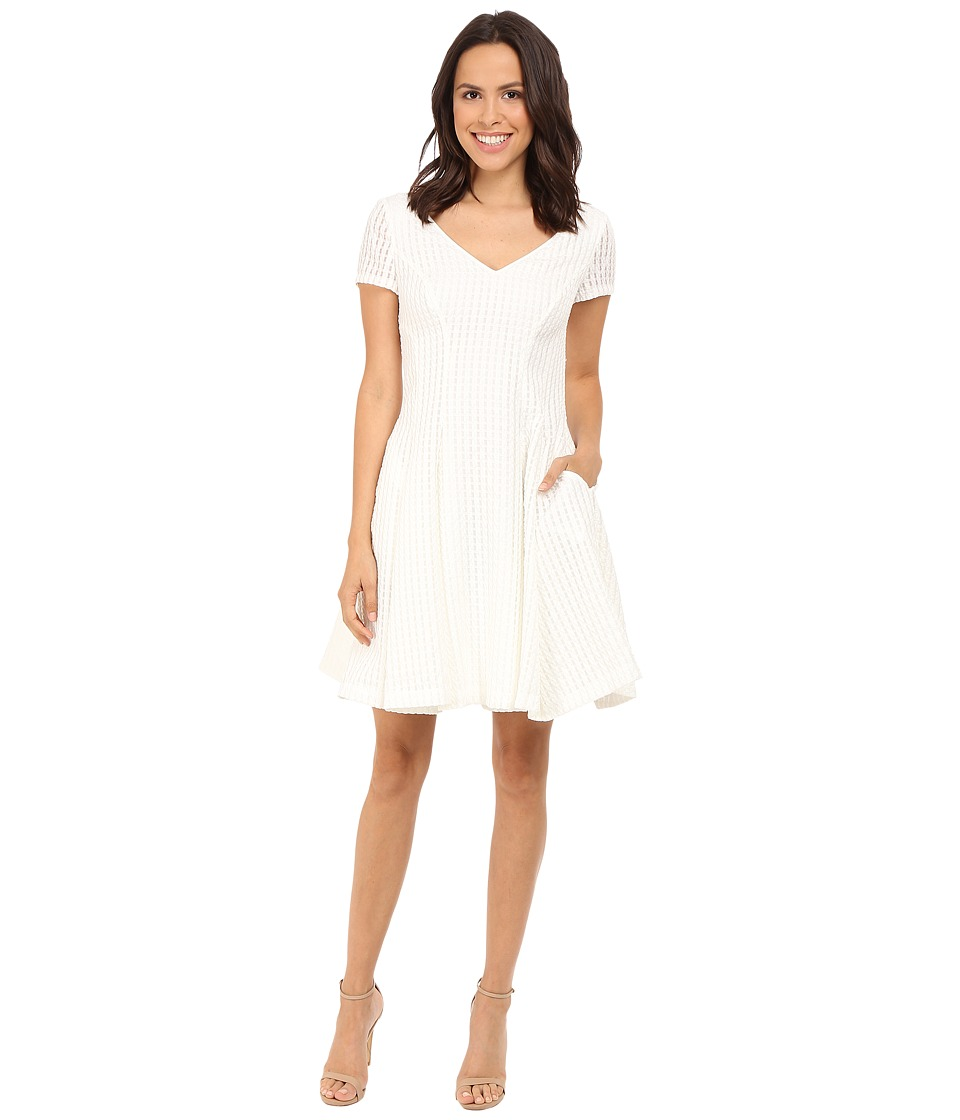 NUE by Shani Fit Flare V-Neck Novelty Woven Dress (White) Women