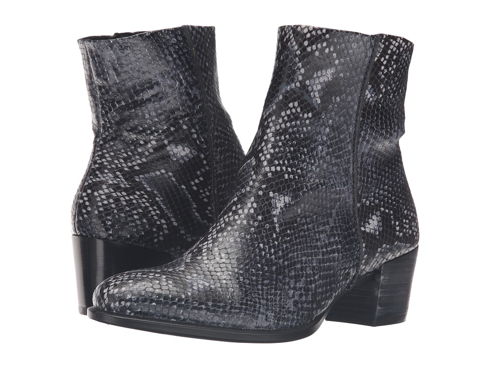 ECCO - Shape 35 Snake Print Ankle Boot (True Navy) Women's Boots