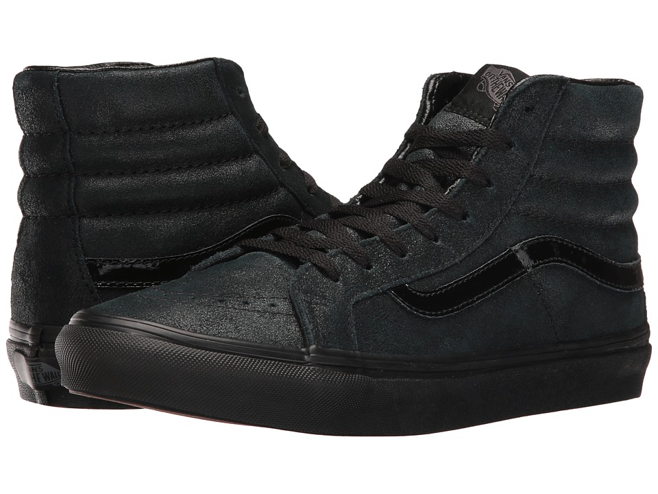 Vans - SK8-Hi Slim ((Patent Crackle) Black/Black) Skate Shoes
