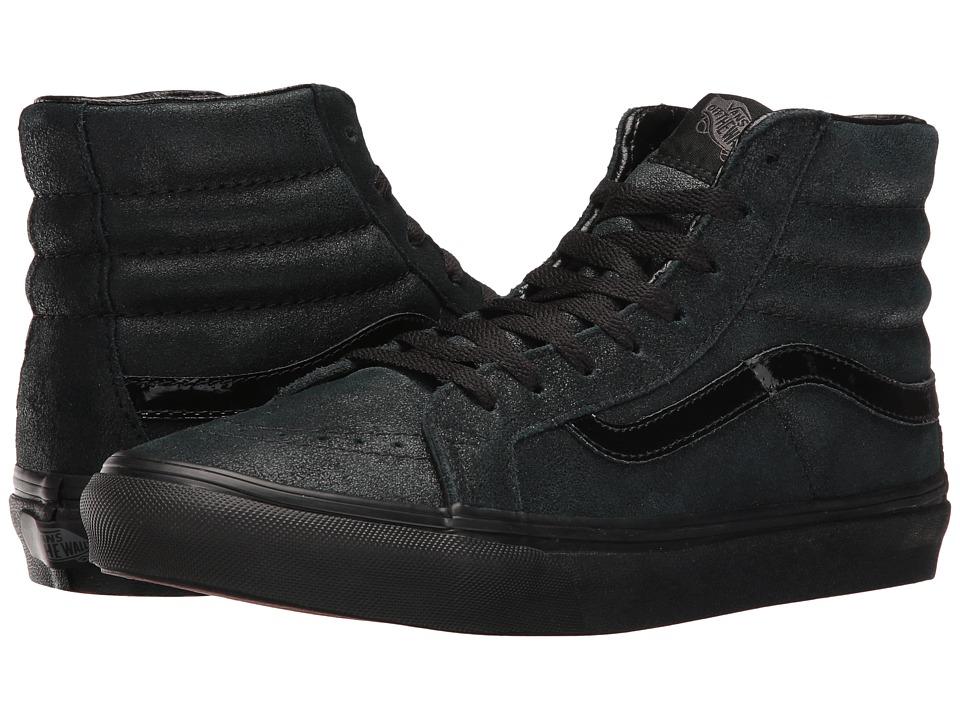 Vans - SK8-Hi Slim ((Patent Crackle) Black/Black) Skate Shoes