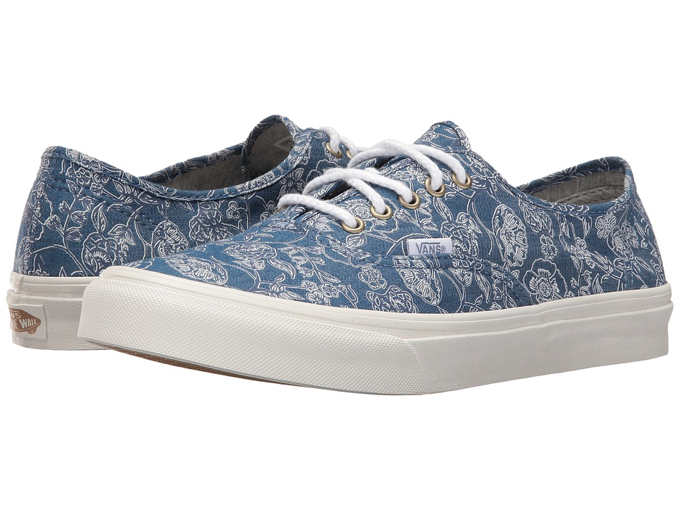 Vans - Authentic Slim ((Chambray Retro Floral) Blue) Athletic Shoes