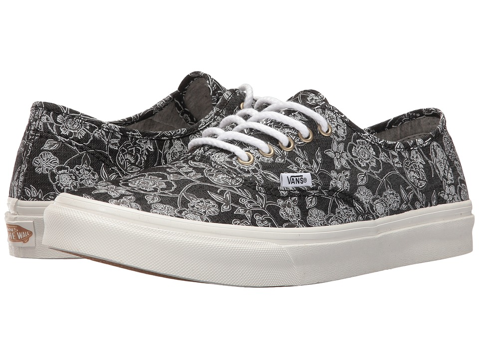 Vans - Authentic Slim ((Chambray Retro Floral) Black) Athletic Shoes