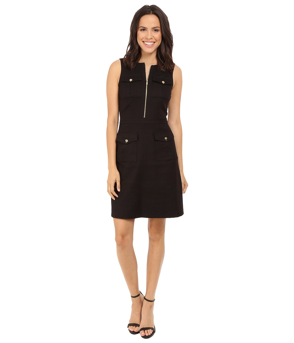 Tahari by ASL - Zip-Front A-Line Sleeveless Dress w/ Pockets (Black) Women's Dress