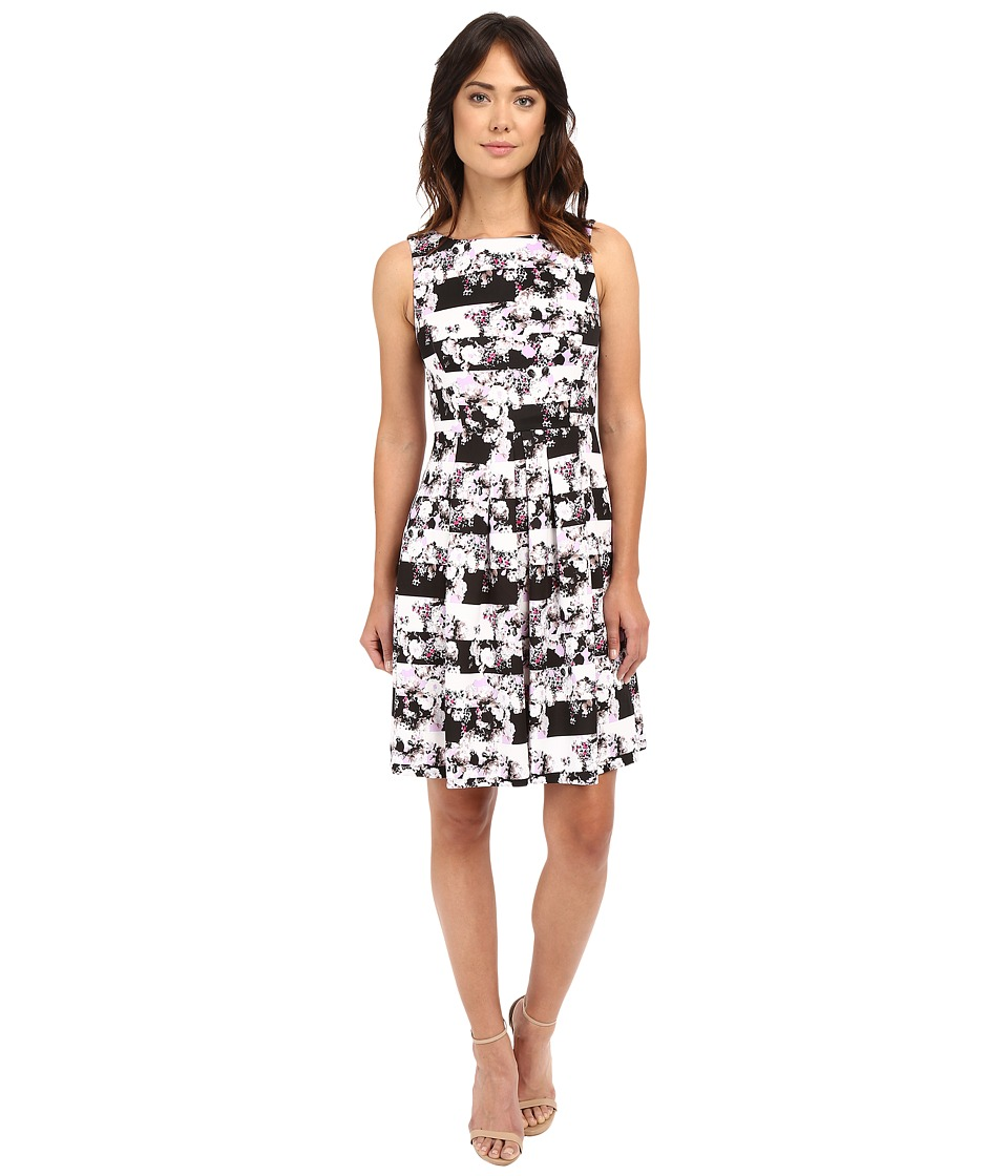 Tahari by ASL - Striped Scuba Floral Fit and Flare Dress (Lavender/Black/White) Women's Dress